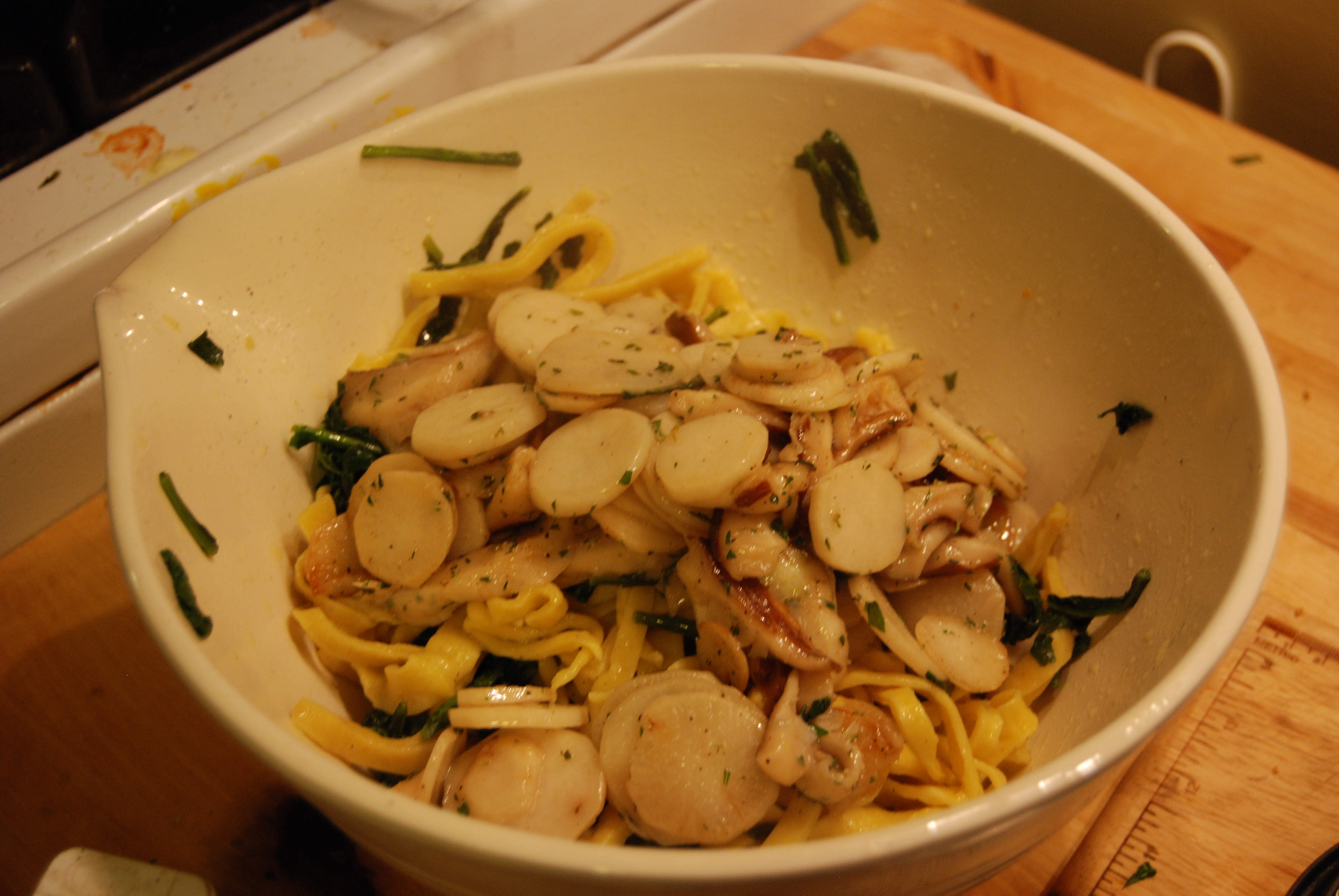 Toss the turnips and the turnip greens into the pasta and drizzle with ...